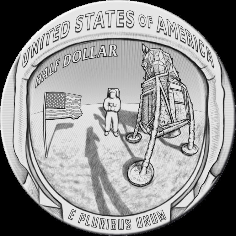 США монета пол доллара Аполлон-11 50 лет, реверс