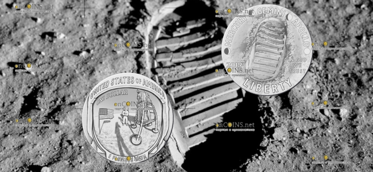 США монета пол доллара Аполлон-11 50 лет