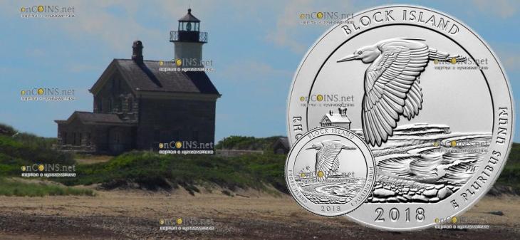 США монеты четверть доллара Национальный заповедник на острове Блок