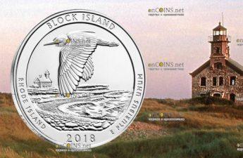 США серебряная монета четверть доллара Национальный заповедник на острове Блок