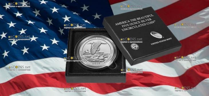 США серебряная монета четверть доллара Национальный заповедник на острове Блок, подарочная упаковка