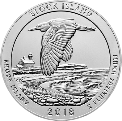 США серебряная монета четверть доллара Национальный заповедник на острове Блок, реверс