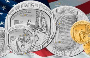 США серия монет Аполлон-11 50 лет