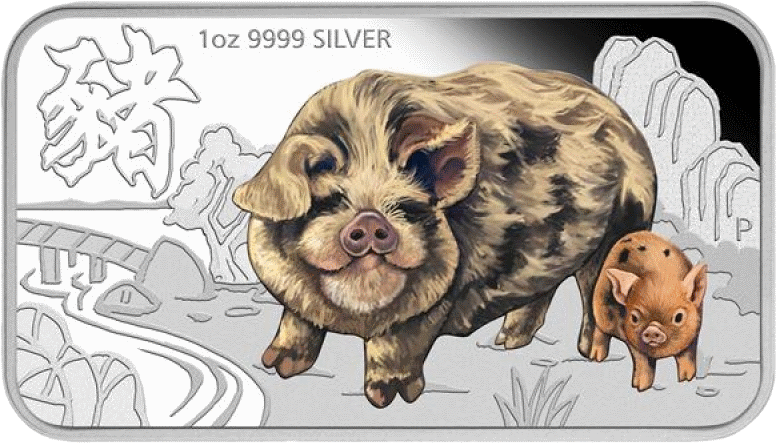 Тувалу монета 1 доллар Год Волосатая свинья