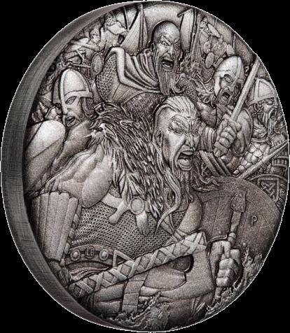 Тувалу монета 2 доллара Викинги, реверс