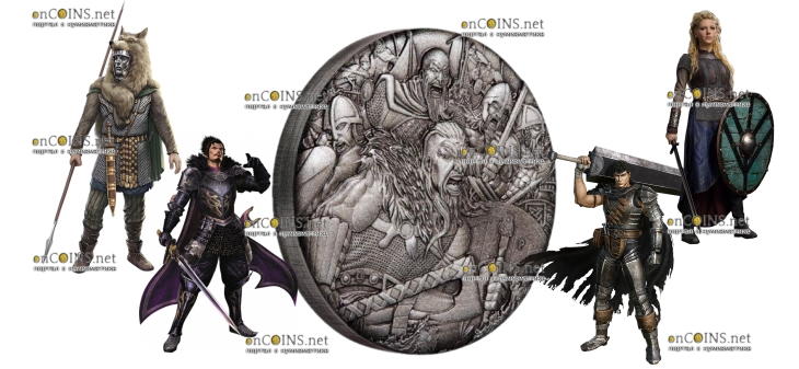 Тувалу монета 2 доллара Викинги