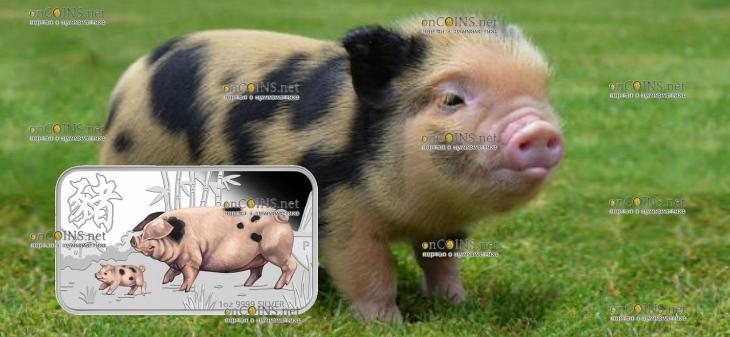 Тувалу прямоугольная монета 1 доллар Пятнистая свинья, реверс