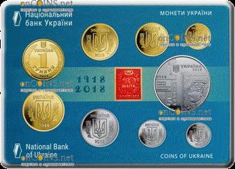 Украина набор ходовых монет 2018 год, аверс
