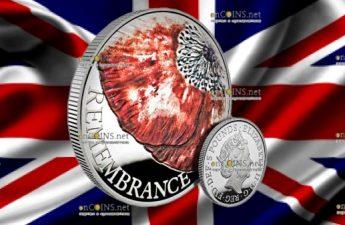 Великобритания монета 5 фунтов День памяти 2018, серебро, 28 грамм
