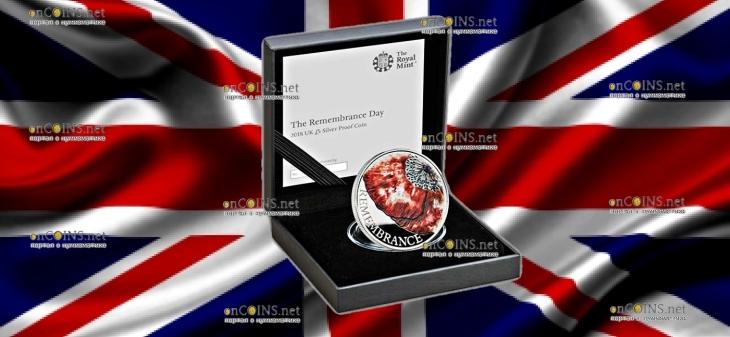 Великобритания монета 5 фунтов День памяти 2018, серебро, 28 грамм, подарочная упаковка