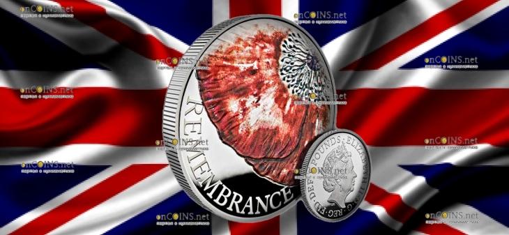 Великобритания монета 5 фунтов День памяти 2018, серебро, 56 грамм