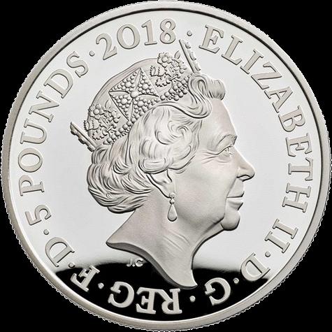 Великобритания монета 5 фунтов День памяти 2018, серебро, аверс