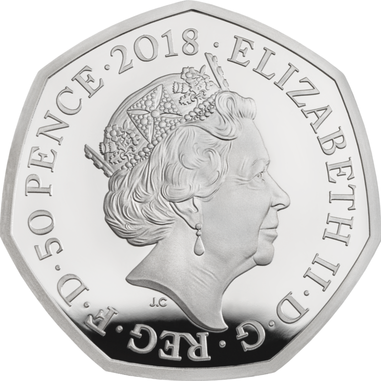 Великобритания монета 50 пенсов Снеговик, серебро, аверс