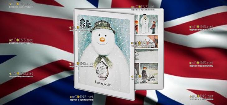 Великобритания монета 50 пенсов Снеговик, подарочная упаковка