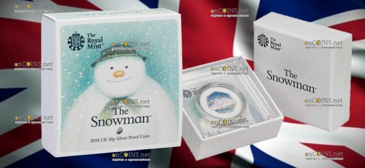 Великобритания монета 50 пенсов Снеговик, серебро, подарочная упаковка