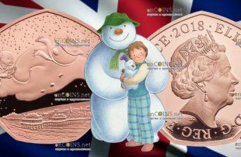 Великобритания монета 50 пенсов Снеговик, золото