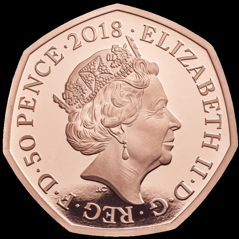 Великобритания монета 50 пенсов Снеговик, золото, аверс