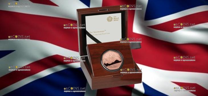 Великобритания монета 50 пенсов Снеговик, золото, подарочная упаковка