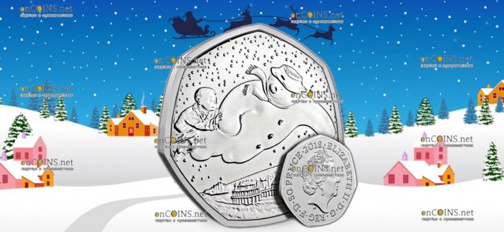 Великобритания монета 50 пенсов Снеговик