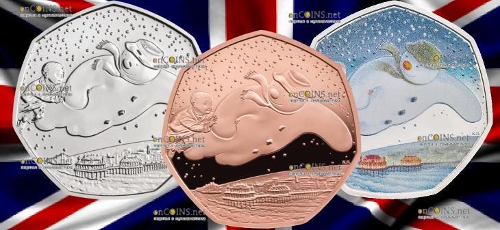 Великобритания серия монет 50 пенсов Снеговик