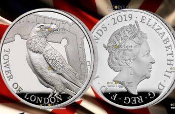 Англия монета 10 фунтов Легенда о Воронах, серебро