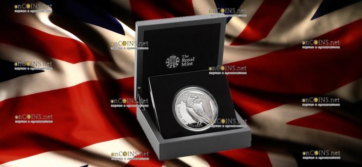 Англия монета 10 фунтов Легенда о Воронах, серебро, подарочная упаковка