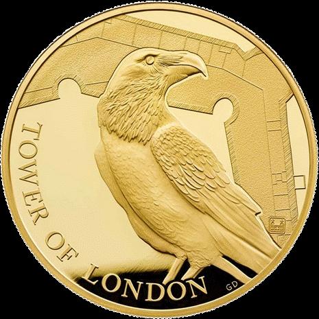 Англия монета 10 фунтов Легенда о Воронах, золото, реверс