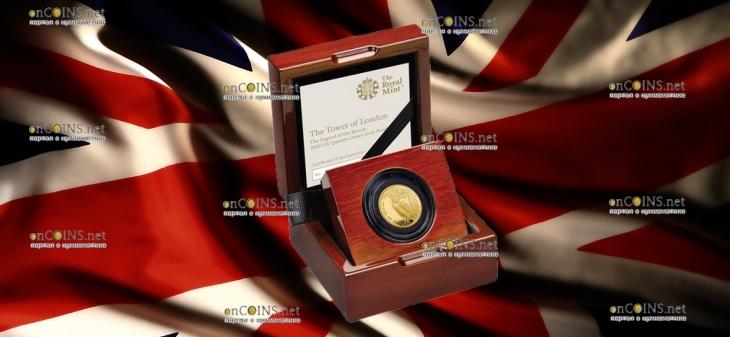 Англия монета 25 фунтов Легенда о Воронах, золото, подарочная упаковка
