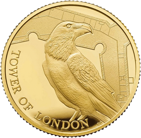 Англия монета 25 фунтов Легенда о Воронах, золото, реверс