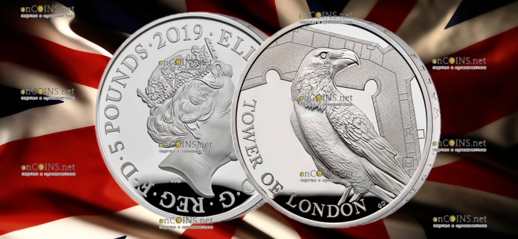 Англия монета 5 фунтов Легенда о Воронах, серебро 28,28