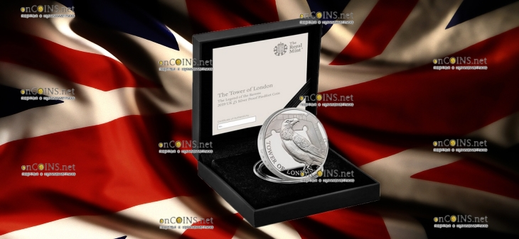 Англия монета 5 фунтов Легенда о Воронах, серебро 56,56, подарочная упаковка