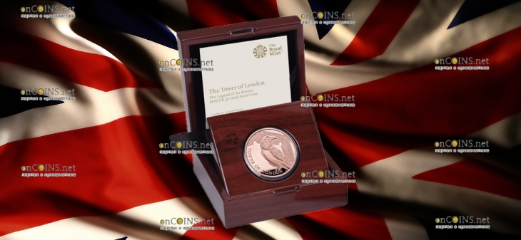 Англия монета 5 фунтов Легенда о Воронах, золото, подарочная упаковка