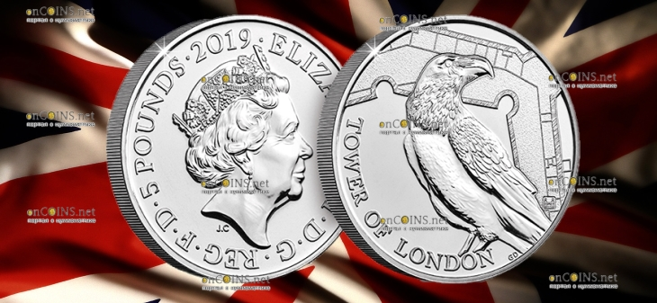 Англия монета 5 фунтов Легенда о Воронах