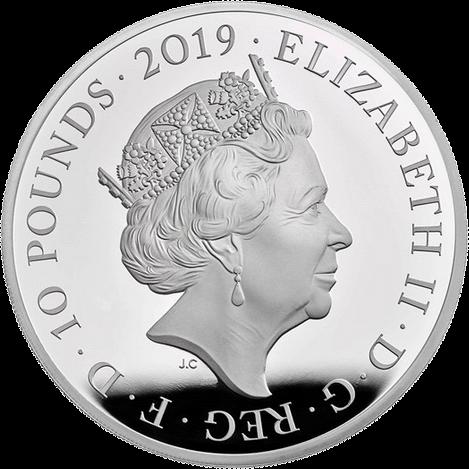 Англия серия Лондонский Тауэр монета 10 фунтов, серебро, аверс