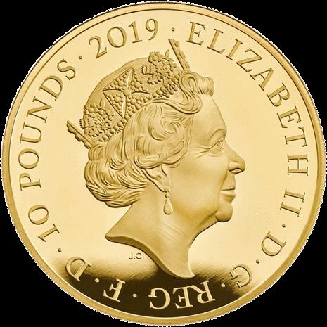 Англия серия Лондонский Тауэр монета 10 фунтов, золото, аверс