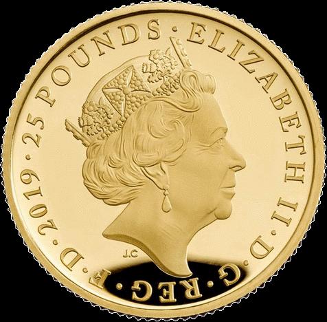 Англия серия Лондонский Тауэр монета 25 фунтов, золото, аверс