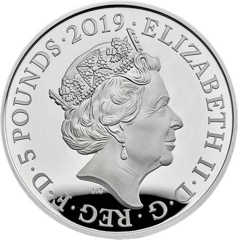 Англия серия Лондонский Тауэр монета 5 фунтов, серебро, аверс