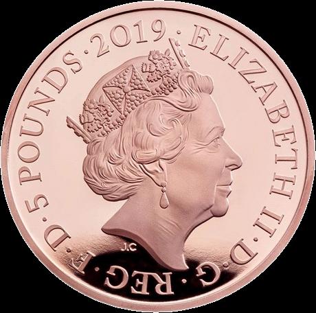 Англия серия Лондонский Тауэр монета 5 фунтов, золото, аверс