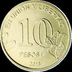 Аргентина ходовая монета 10 песо, аверс