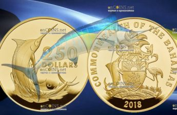 Багамские острова монета 250 долларов Голубой Марлин