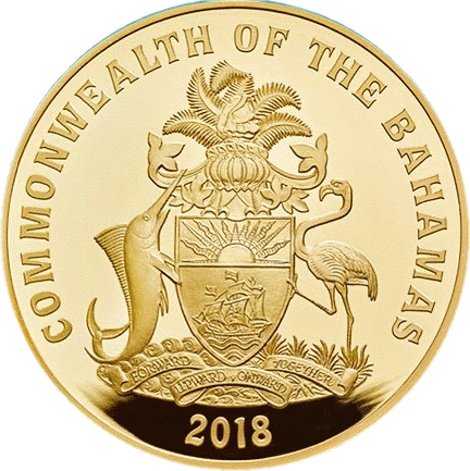 Багамские острова монета 250 долларов Голубой Марлин, аверс