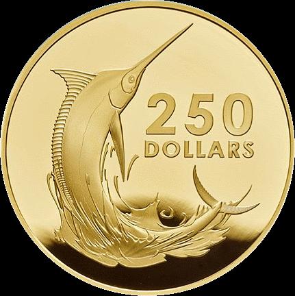 Багамские острова монета 250 долларов Голубой Марлин, реверс