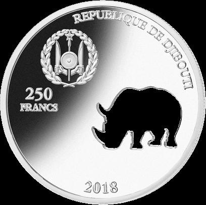 Джибути монета 250 франков Носорог, аверс