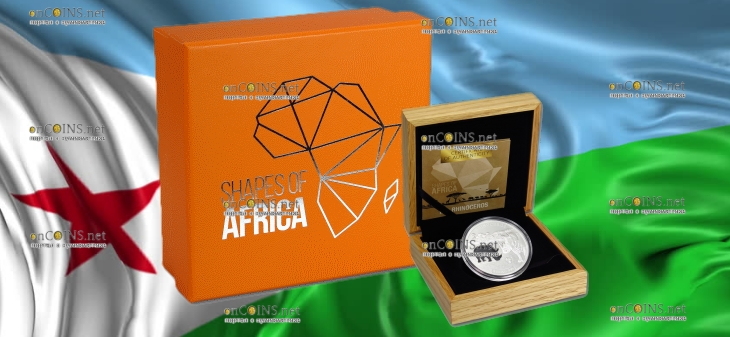 Джибути монета 250 франков Носорог, подарочная упаковка
