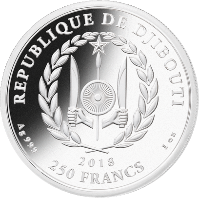 Джибути монета 250 франков Силуэты Африки, аверс