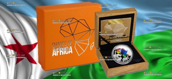 Джибути монета 250 франков Силуэты Африки, подарочная упаковка