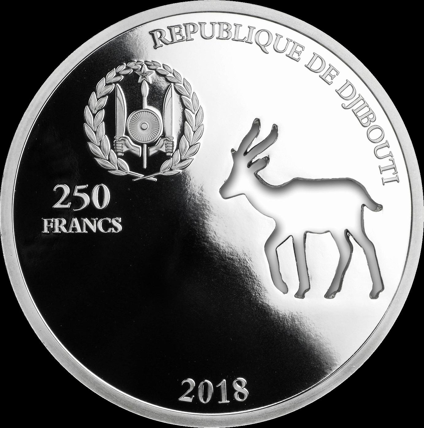Джибути монета 250 франков Спрингбок, аверс