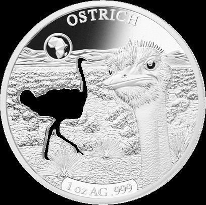 Джибути монета 250 франков Страус, реверс
