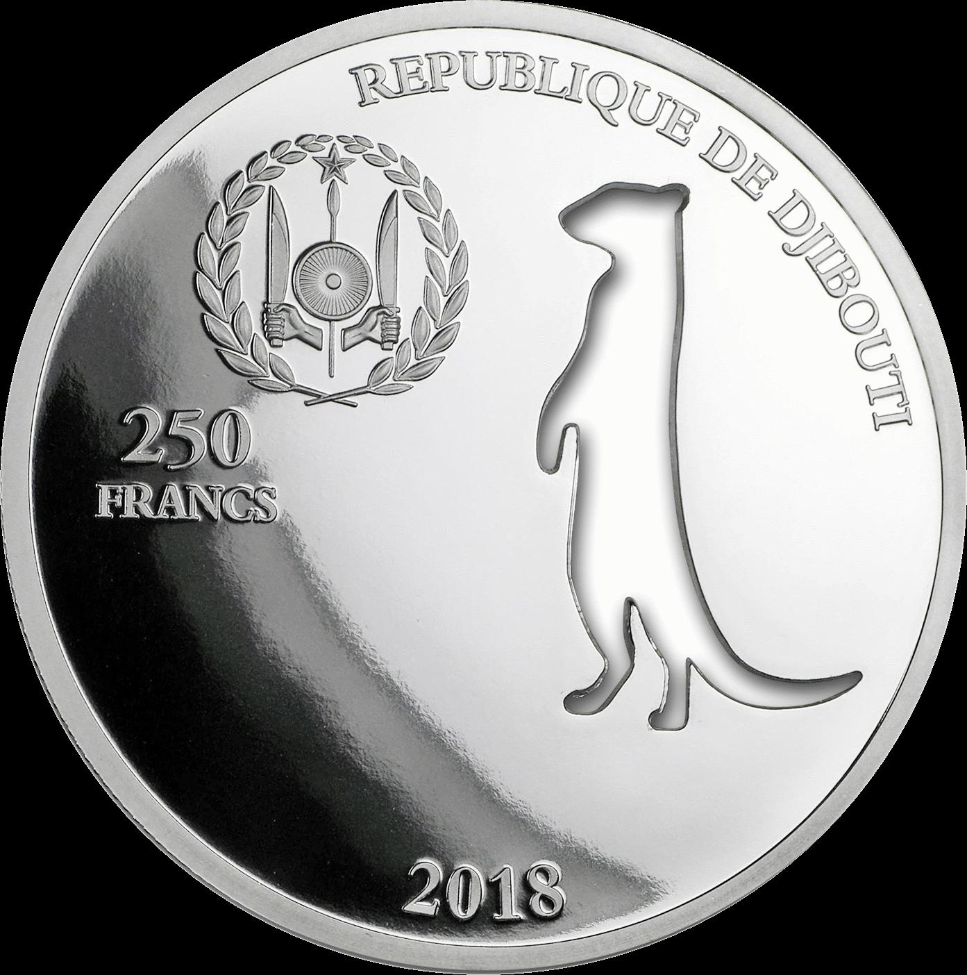Джибути монета 250 франков Сурикат, аверс