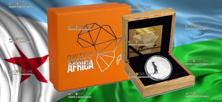 Джибути монета 250 франков Сурикат, подарочная упаковка